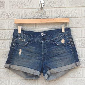 7 for all mankind Roll Up Embellished Denim Shorts